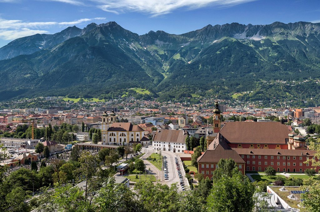 Stock Photo: 1848R-625592 View of Innsbruck, Wilten district, capital of Tyrol with Northern Chain, Alps, Austria, Europe, PublicGround