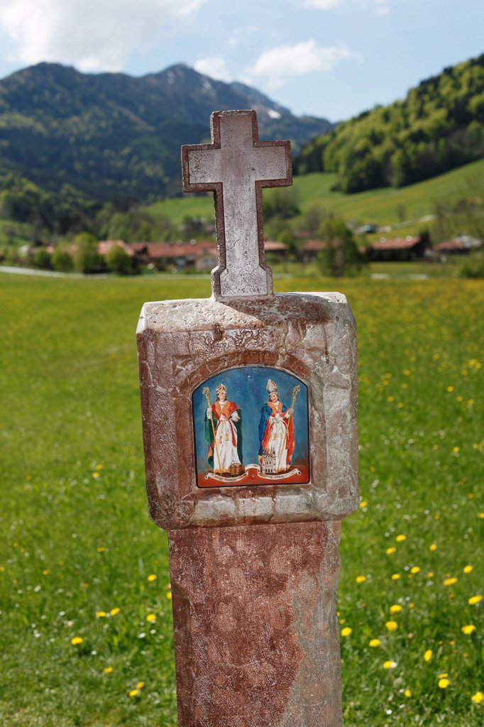 Stock Photo: 1848R-632355 St. Rupert and St. Virgil on a wayside shrine, Ruhpolding, Chiemgau region, Upper Bavaria, Bavaria, Germany, Europe, PublicGround
