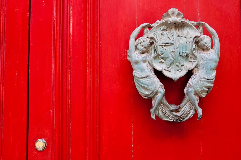 Door knocker on front door, Valletta, Malta, Europe : Stock Photo