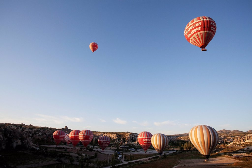 Hot air balloons, balloon ride, Goreme, UNESCO World Heritage Site, Cappadocia, Turkey : Stock Photo