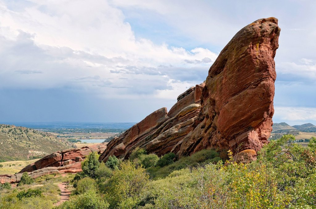 Stock Photo: 1848R-633594 Iceberg Rock, red sandstone rocks, Red Rocks Park, Denver, Colorado, USA