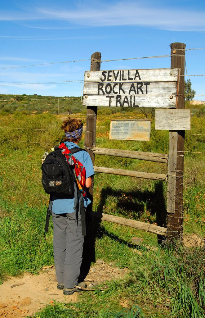 Visitor at the entrance to the Sevilla Rock Art Trail, site of prehistoric rock paintings of the Bushmen, Cederberg Mountains, Western Cape Province, South Africa, Africa : Stock Photo