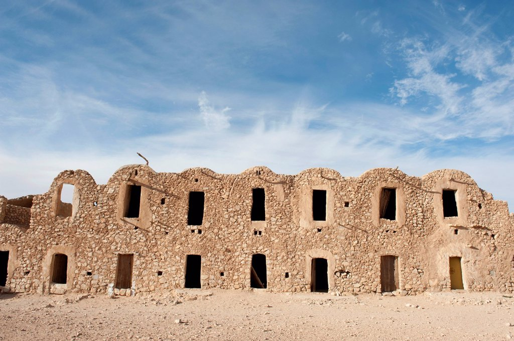 Stock Photo: 1848R-633721 Multi_level barn constructed with barrel vaults, Ghorfa, Ksar Fercha, Southern Tunisia, Tunisia, Maghreb, North Africa, Africa