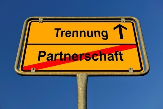 City limit sign, symbolic image for the way from Partnerschaft to Trennung, German for going from being in a partnership to having a separation : Stock Photo