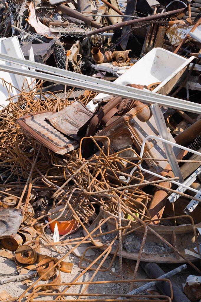Stock Photo: 1848R-634169 Pile of discarded industrial items at a scrap metal recycling centre, Quebec, Canada