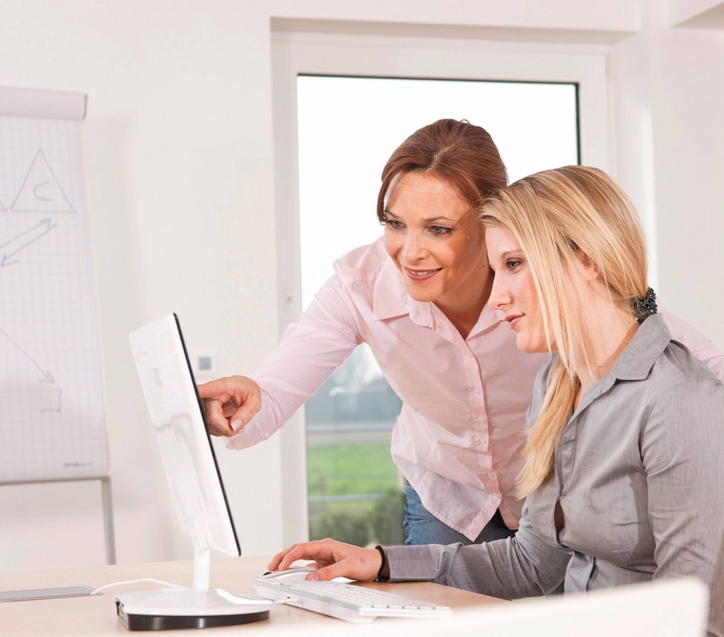 Stock Photo: 1848R-634393 Two women working together on a computer