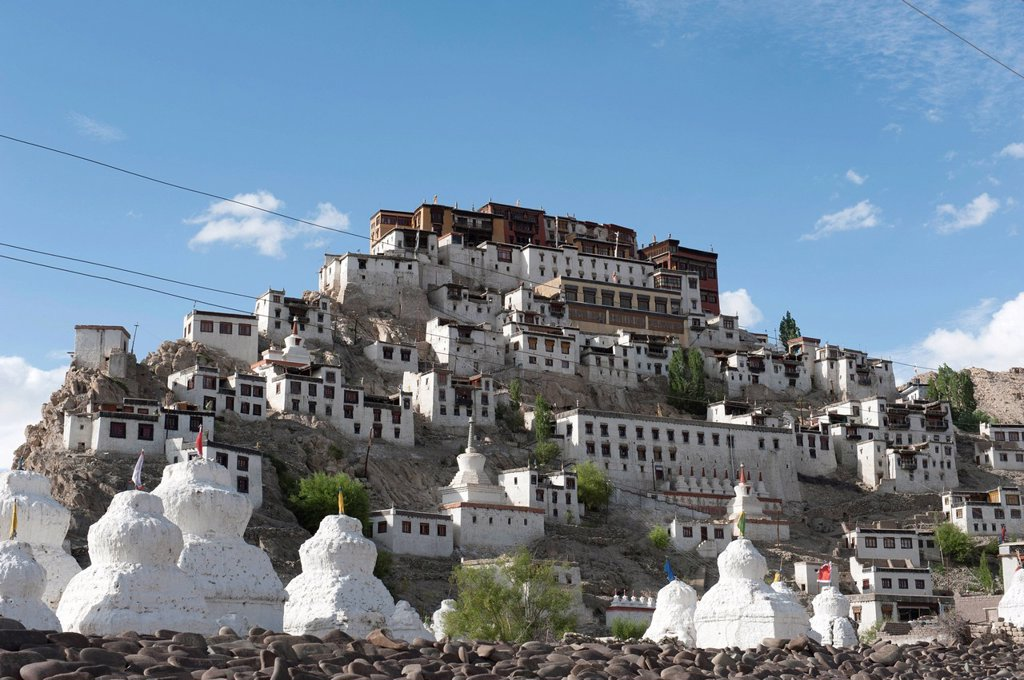 Tibetan Buddhism, monastery on a hill, many white stupas, Thikse Monastery near Leh, Ladakh region, Jammu and Kashmir, India, South Asia, Asia : Stock Photo
