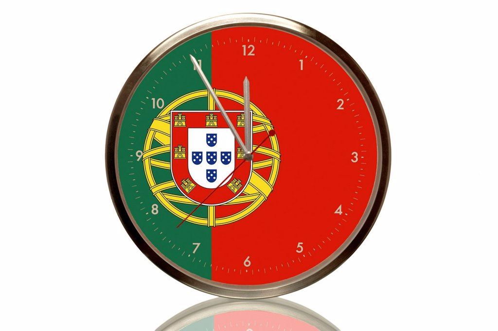 Stock Photo: 1848R-635317 Clock with the Portuguese flag, 5 minutes to twelve, eleventh hour, symbolic image for the euro crisis