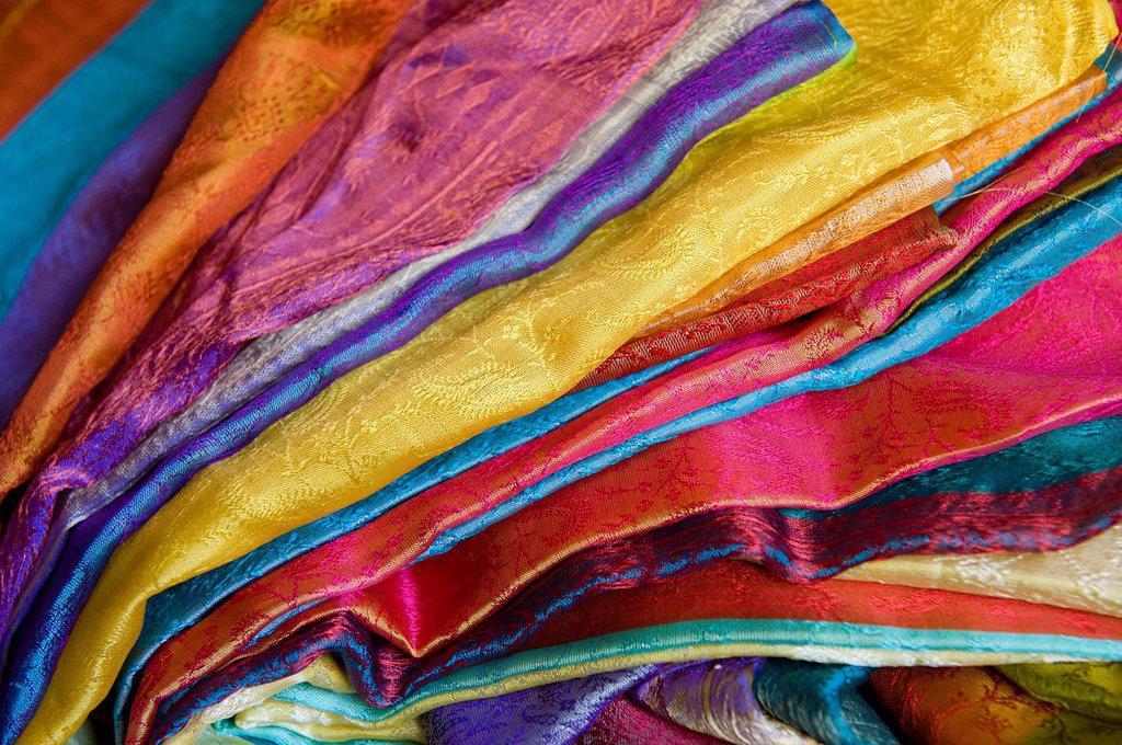 Benares silk fabrics, Varanasi, Uttar Pradesh, India, Asia : Stock Photo