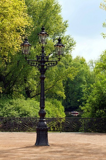 Three_armed candelabra lantern from Charlottenburg Palace from 1892 in the Berlin Tiergarten park, Berlin, Germany, Europe : Stock Photo