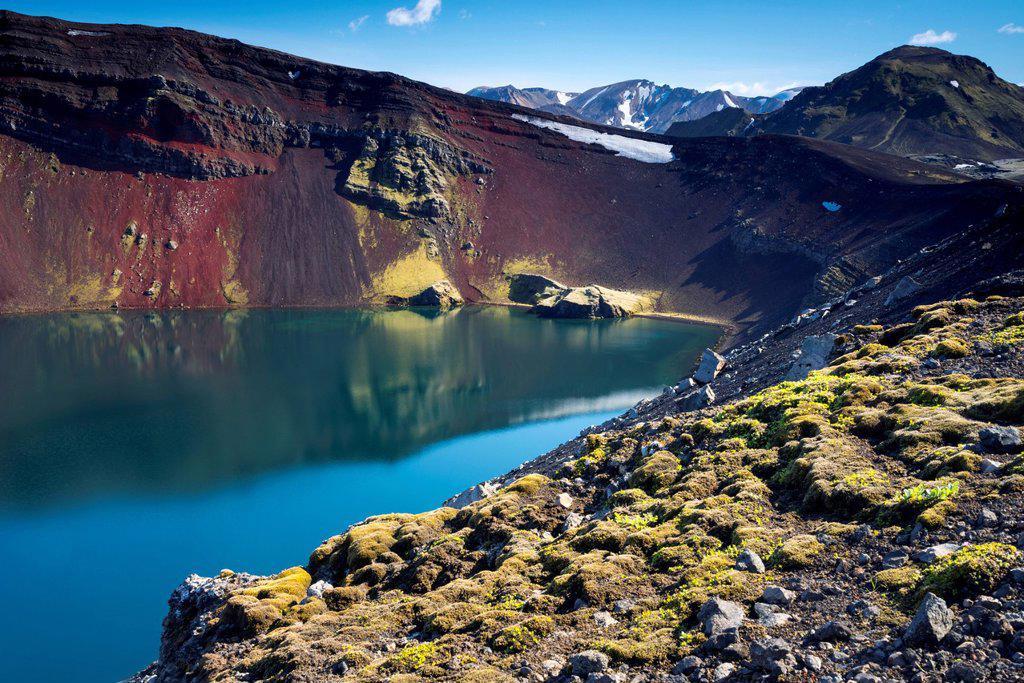 Ljótipollur volcanic crater, Landmannalaugar, Fjallabak Nature Reserve, Highlands, Iceland, Europe : Stock Photo