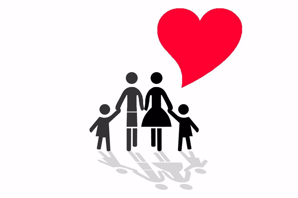 Family with heart, symbolic image for love and harmony in a family, illustration : Stock Photo