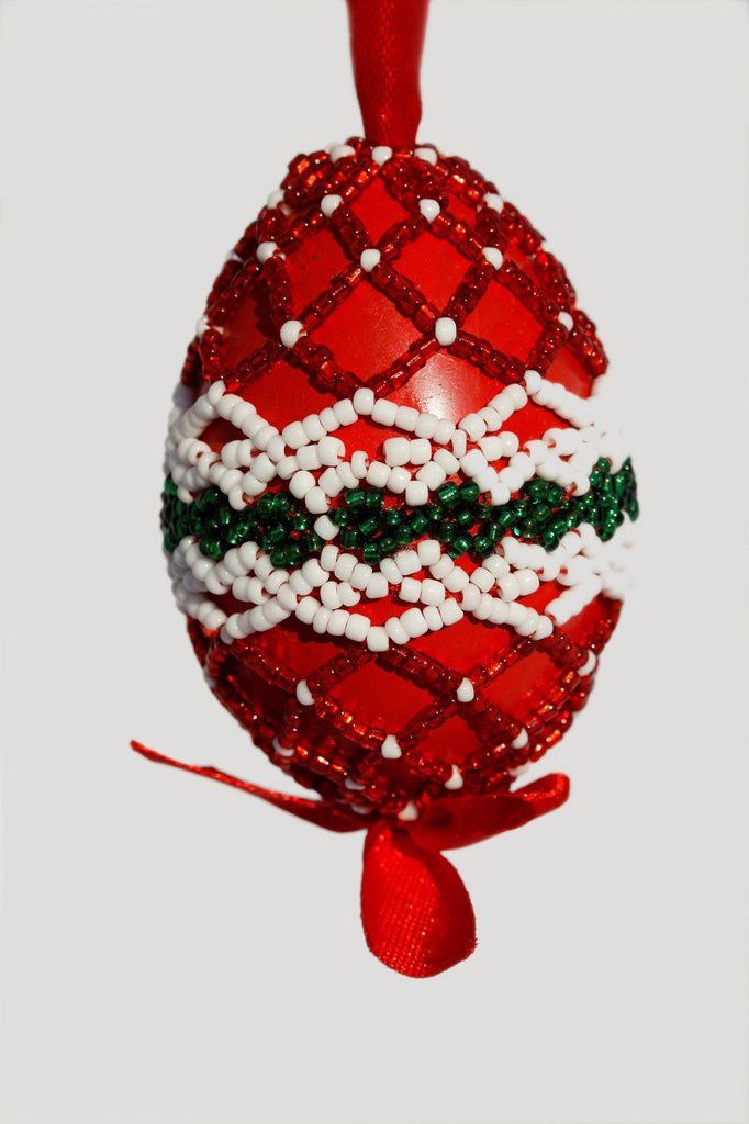 Easter Egg decorated with beads, folklore, traditional Hungarian : Stock Photo