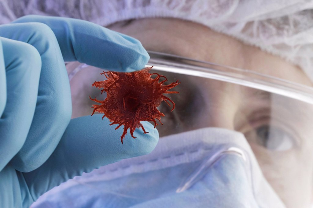 Scientist and tumor, illustration : Stock Photo