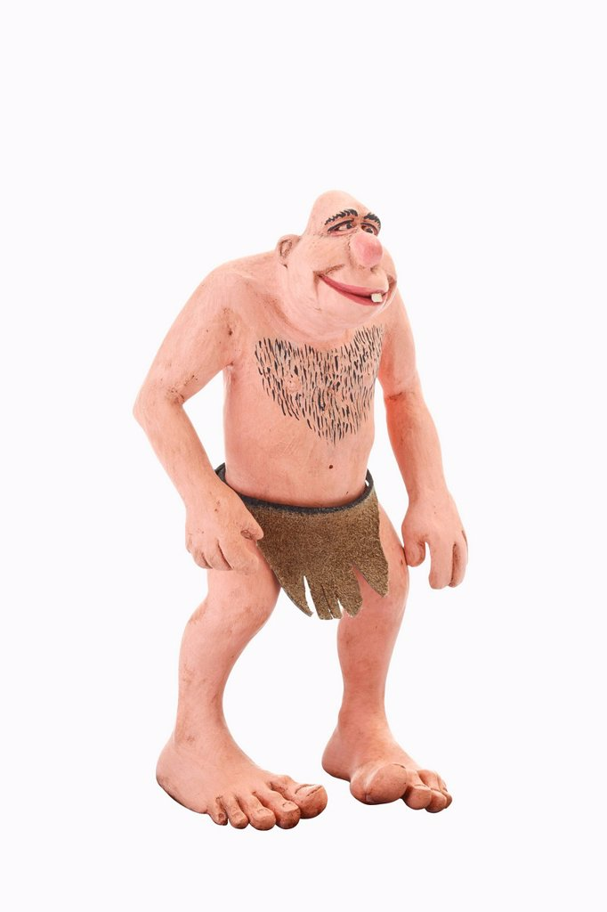 Stone age man, cartoon character : Stock Photo