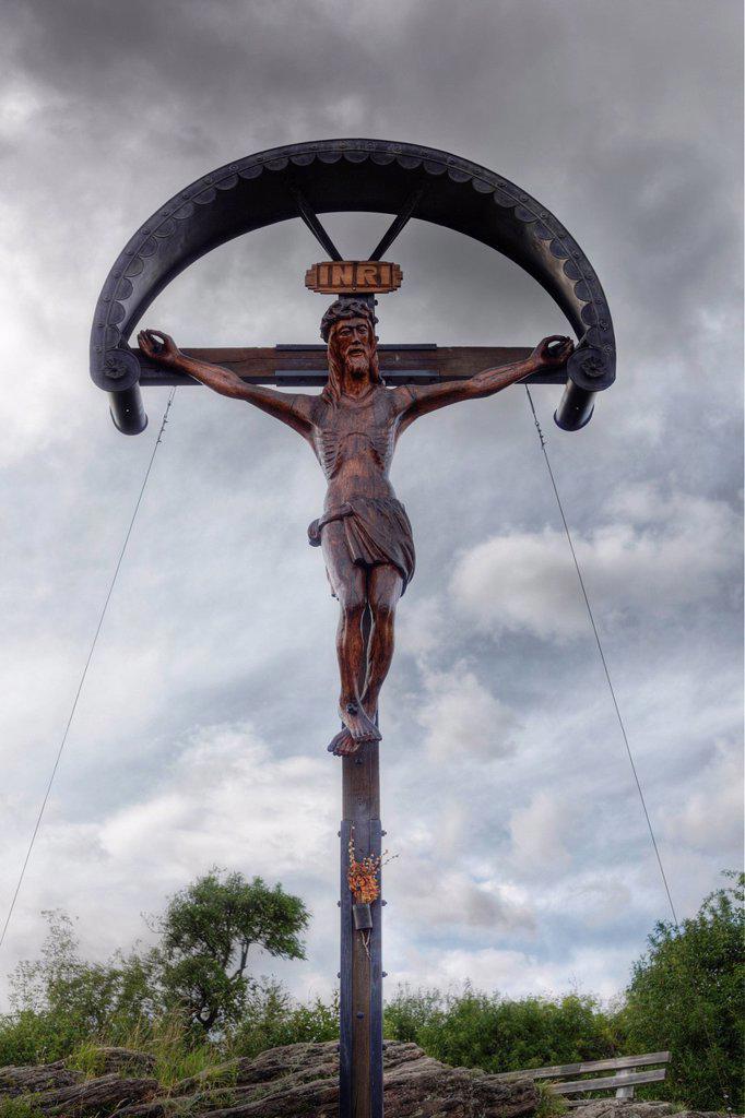 Stock Photo: 1848R-639231 Crucifix on Mt. Kreuzberg, Krems an der Donau, Wachau, Lower Austria, Austria, Europe