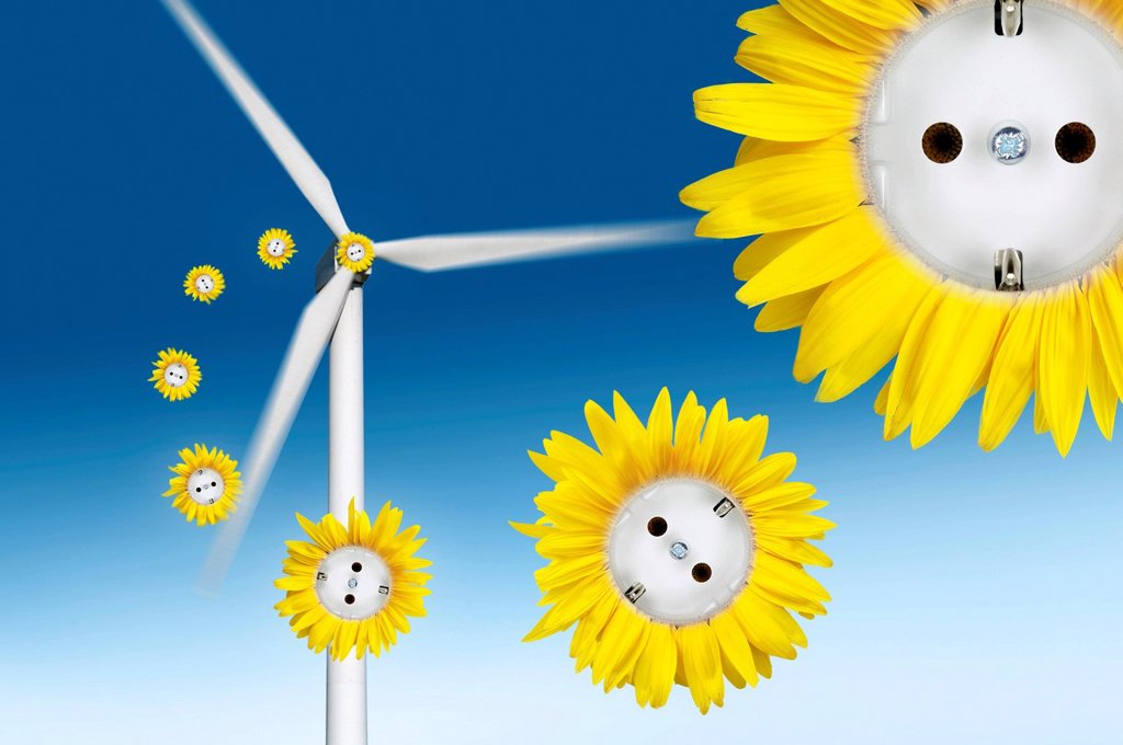 Stock Photo: 1848R-639352 Symbolic image for wind power, sun flower sockets flying out of a wind turbine