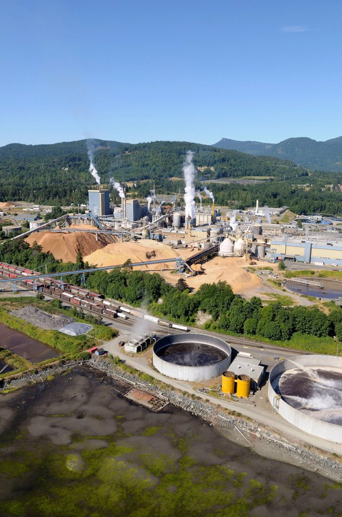 Stock Photo: 1848R-639435 Aerial view of the Catalyst Paper Mill, Crofton, Vancouver Island, British Columbia, Canada
