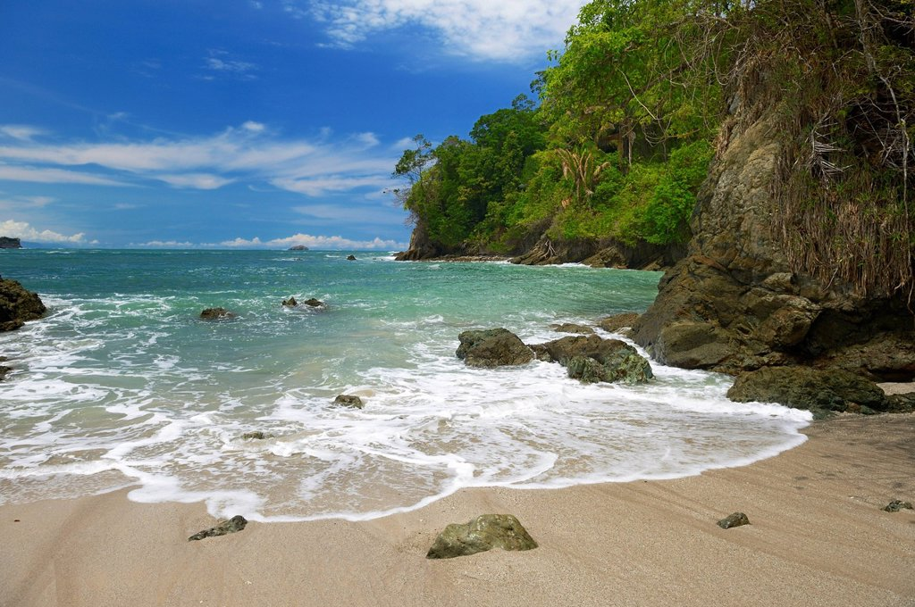 Stock Photo: 1848R-639557 White sandy beach, Manuel Antonio National Park, Costa Rica, Central America