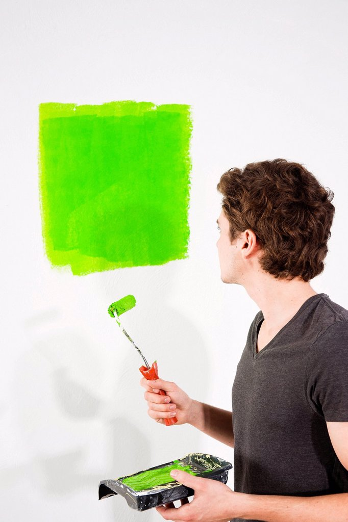 Young man painting a wall : Stock Photo