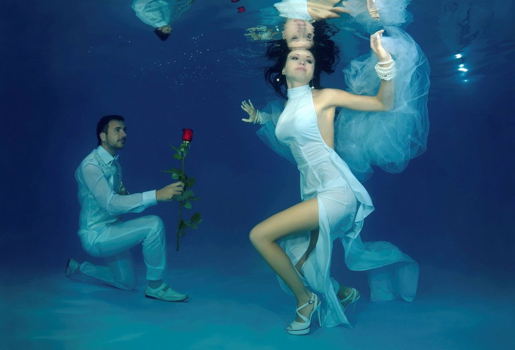 Stock Photo: 1848R-640828 Underwater wedding in pool, Odessa, Ukraine, Eastern Europe