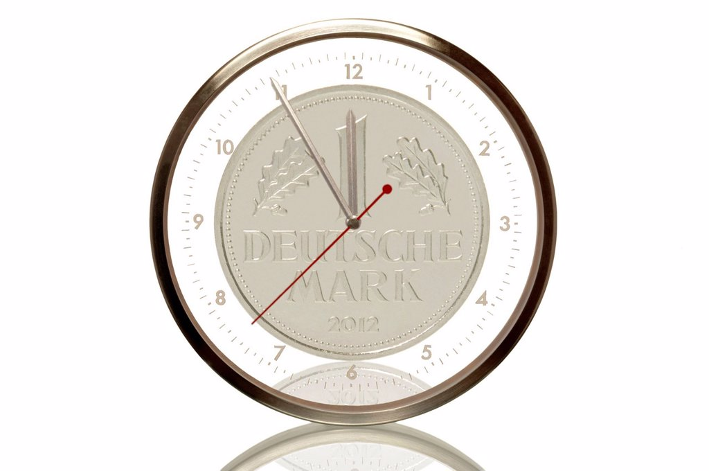 Stock Photo: 1848R-642172 Clock with a Deutschmark coin produced in 2012, 5 minutes to twelve, eleventh hour, symbolic image for euro crisis