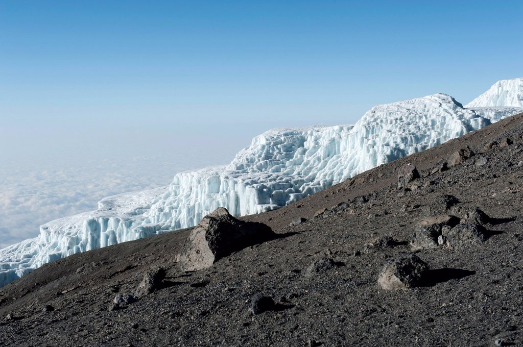 Ice, Rebmann Glacier on the crater rim of Kibo, summit of Uhuru Peak, extinct volcano, Mount Kilimanjaro National Park, Marangu Route, Tanzania, East Africa, Africa : Stock Photo