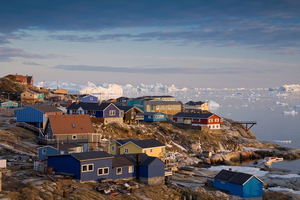 Stock Photo: 1848R-643639 Ilulissat with Disko Bay, Greenland