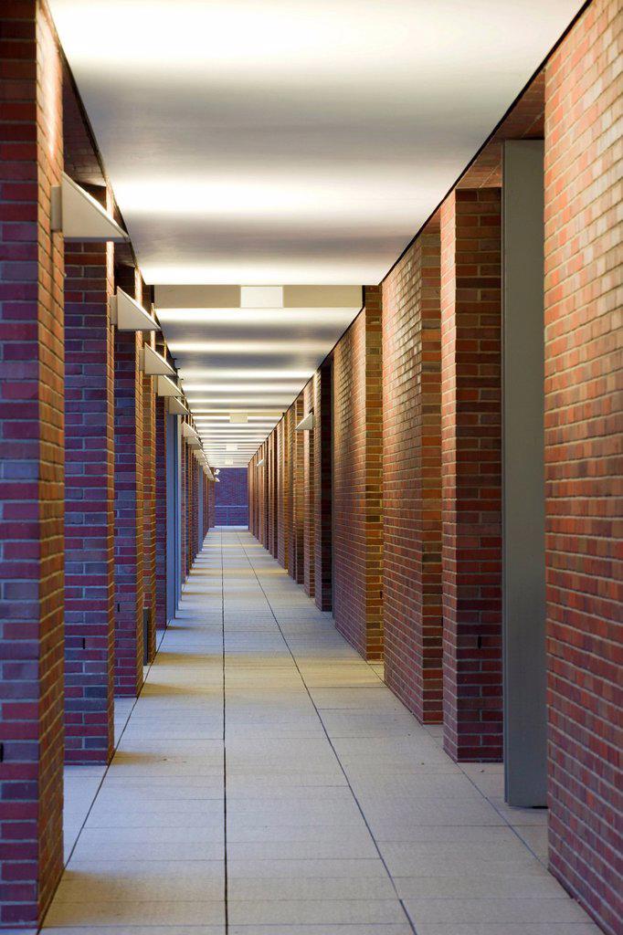 Long corridor in the Speicherstadt historic warehouse district in Hamburg, Germany, Europe : Stock Photo