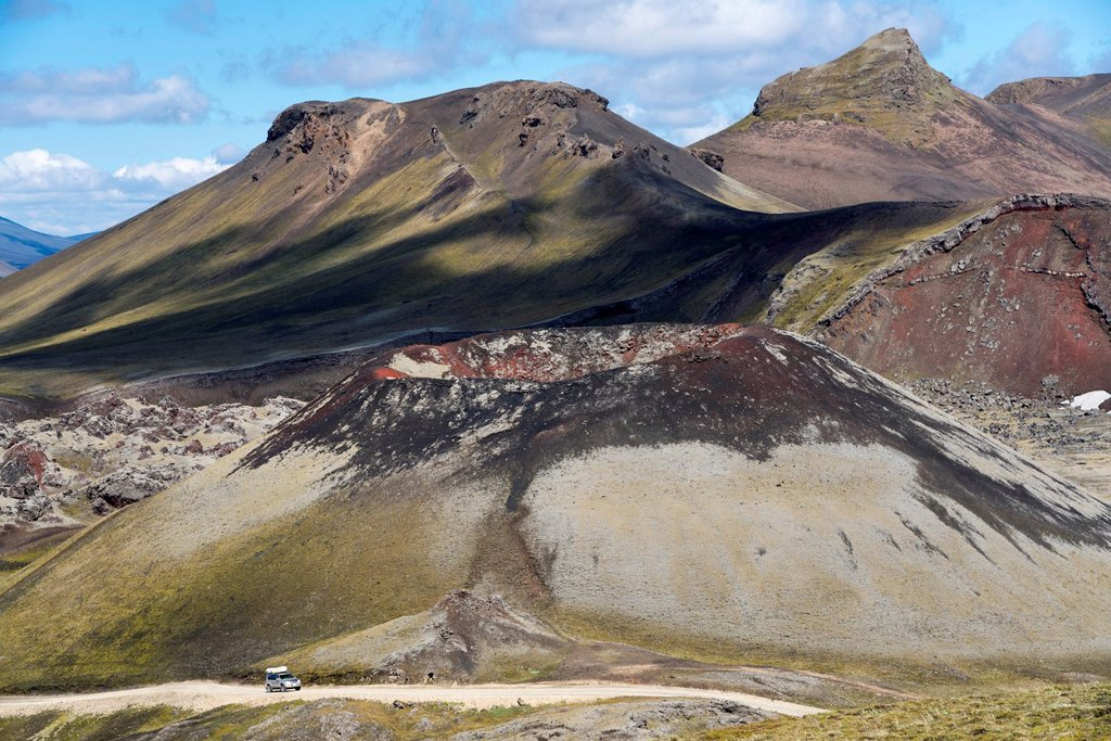 Stock Photo: 1848R-645205 Stútur volcanic crater, Norðurnámshraun lava field, Landmannalaugar, Fjallabak Nature Reserve, Highlands, Iceland, Europe