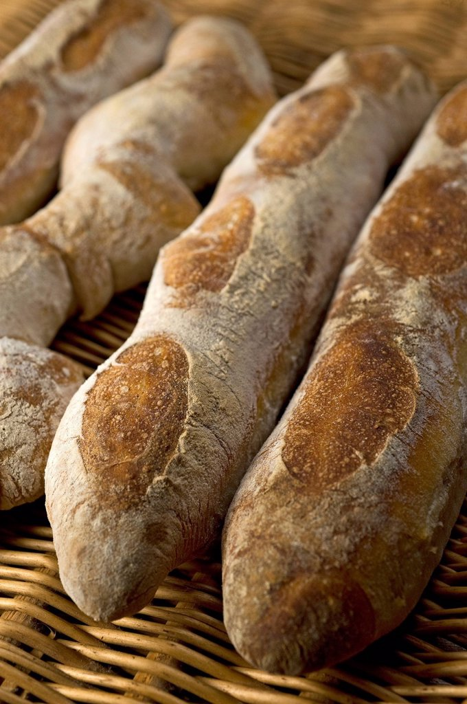 Stock Photo: 1848R-645234 Baked Baguettes au Levain, wheat sourdough baguettes