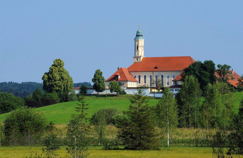 Stock Photo: 1848R-645314 Reutberg Monastery, Sachsenkam, district of Bad Toelz _ Wolfratshausen, Upper Bavaria, Bavaria, Germany, Europe, PublicGround