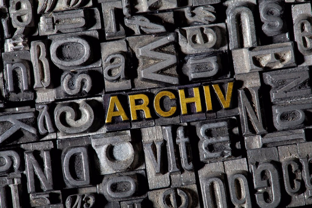 Stock Photo: 1848R-645673 Old lead letters spelling the word ´´ARCHIV´´, German for archive
