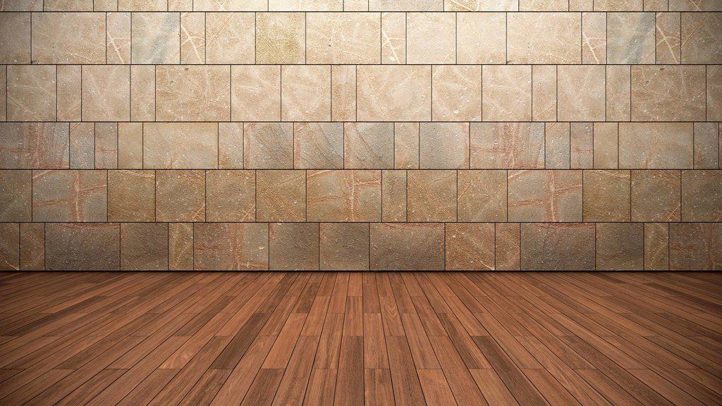 Stock Photo: 1848R-727201 Empty room, wall made of sandstone, wooden floor, flooring, teak