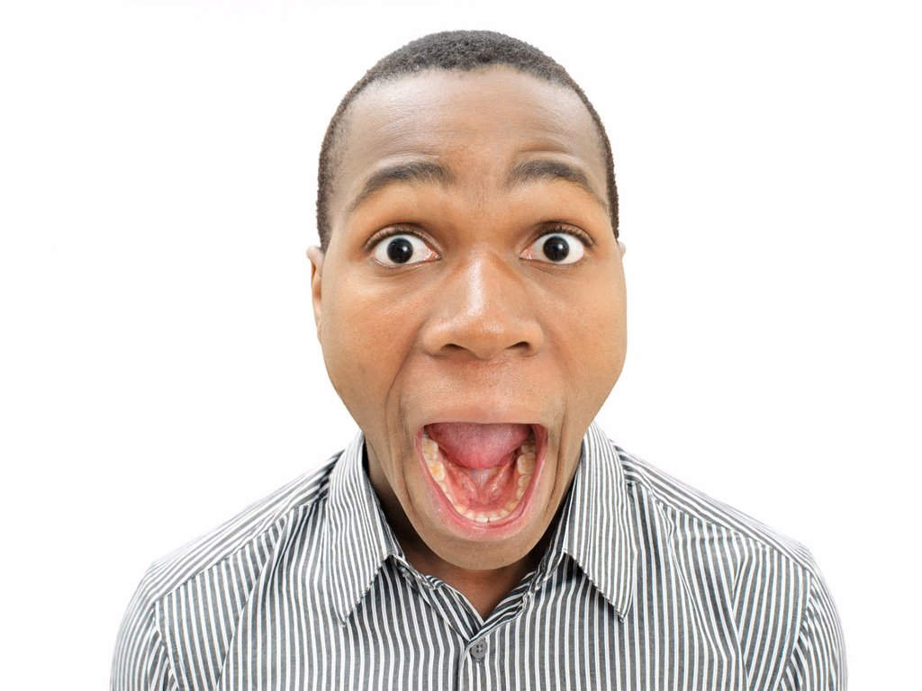 Stock Photo: 1848R-727210 Amazed young man, African_American, American, surprised, with his mouth open