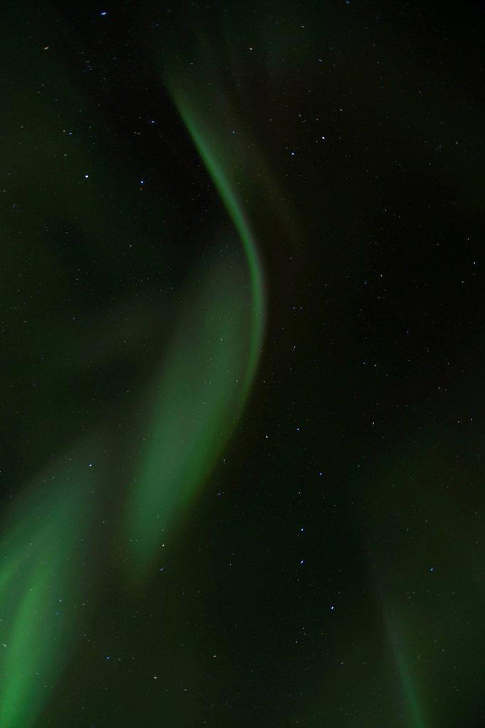 Stock Photo: 1848R-733811 Overhead swirling northern polar lights, Aurora borealis, green, near Whitehorse, Yukon Territory, Canada, America