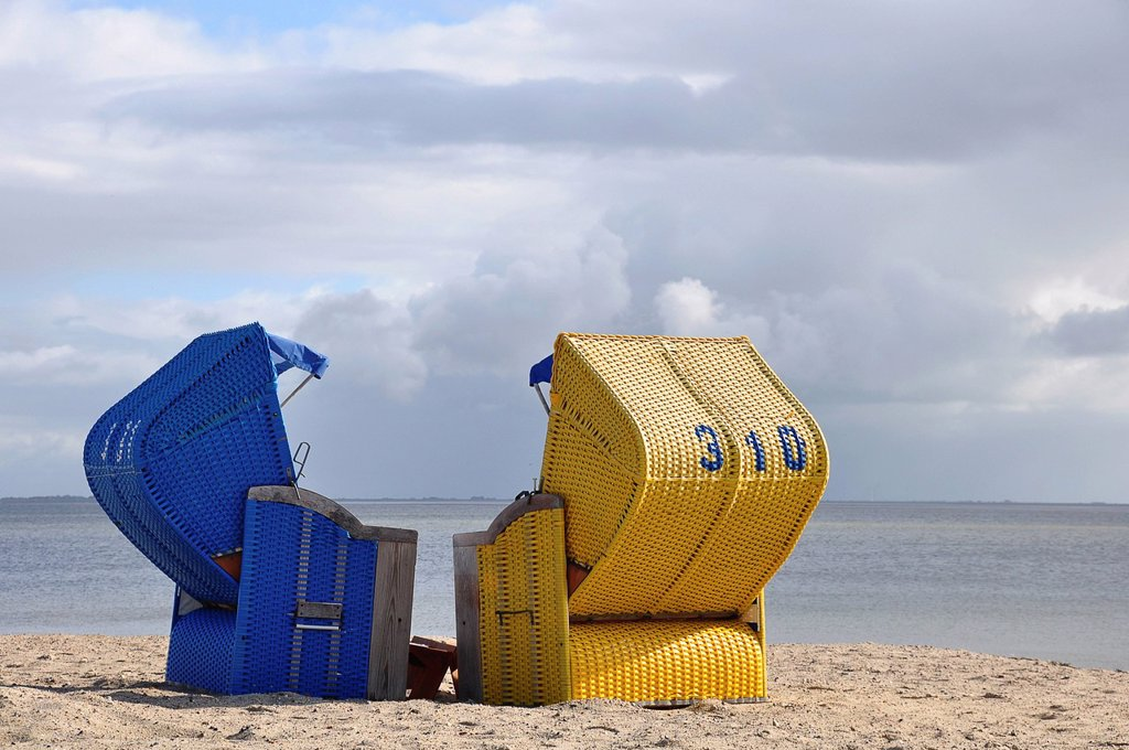 Stock Photo: 1848R-734261 Canopied beach chairs on the North Sea coast, Wyk auf Foehr, Schleswig_Holstein, Germany, Europe