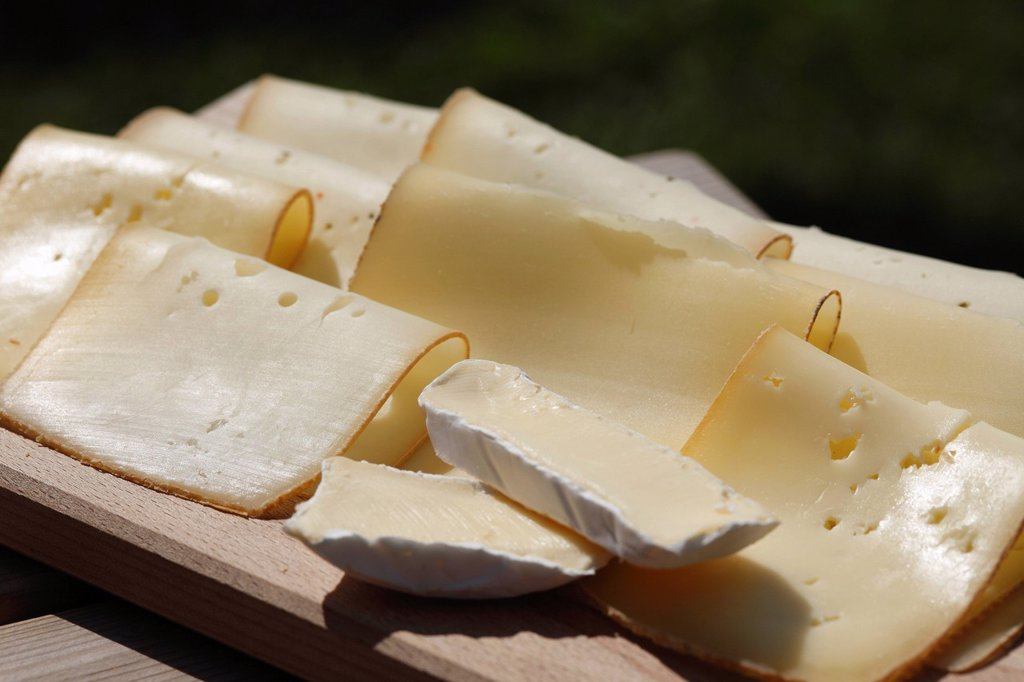 Cheese, cheeseboard, natural cheese dairy Tegernseer Land, Kreuth, Upper Bavaria, Bavaria, Germany, Europe : Stock Photo
