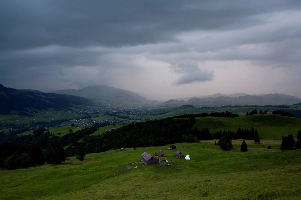 Rain front in the Appenzell region of the Swiss Alps, Switzerland, Europe, PublicGround : Stock Photo