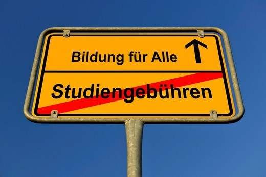 City limits sign with the words Bildung fuer Alle and Studiengebuehren, German for education for everybody and tuition fees, symbolic image for the abolition of tuition fees to enable the right to education for all : Stock Photo