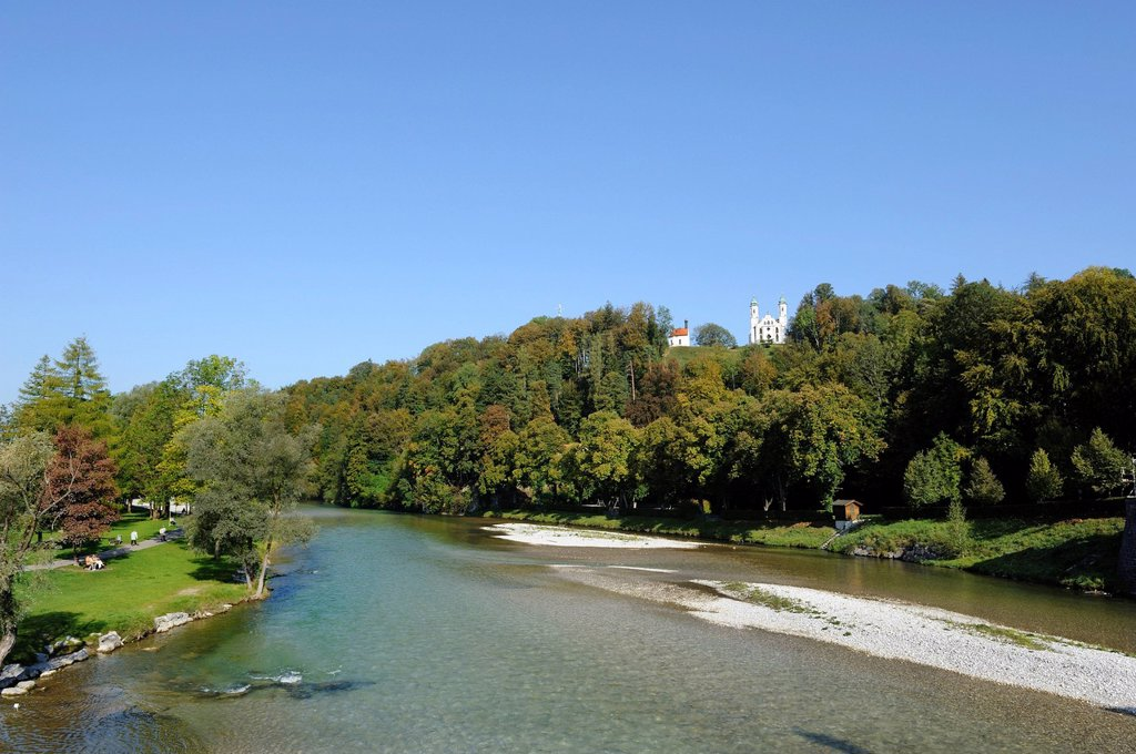Stock Photo: 1848R-736240 Isar River near Bad Toelz with Leonard Chapel and the Church of the Holy Cross, Calvary Hill, Bad Toelz, Upper Bavaria, Bavaria, Germany, Europe, PublicGround