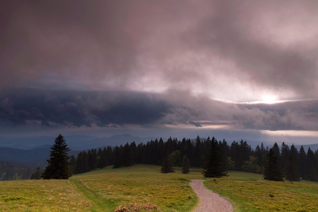 Dramatic clouds seen from Herzogenhorn mountain near Feldberg mountain, southern Black Forest, Baden_Wuerttemberg, Germany, Europe : Stock Photo