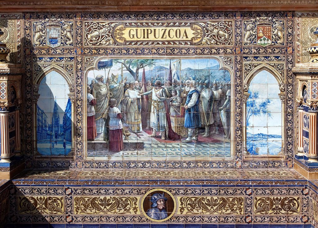 Tile mosaic of a Spanish province, Plaza de España, Seville, Spain, Europe : Stock Photo
