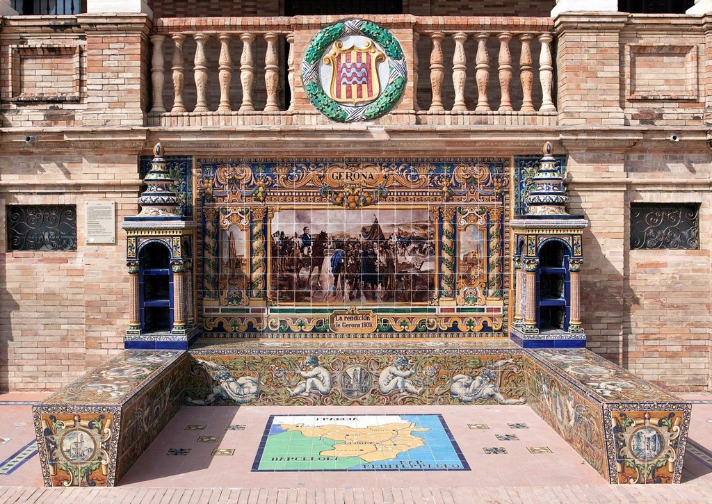 Tile mosaic of a Spanish province, Plaza de España, Seville, Spain, Europe : Stock Photo