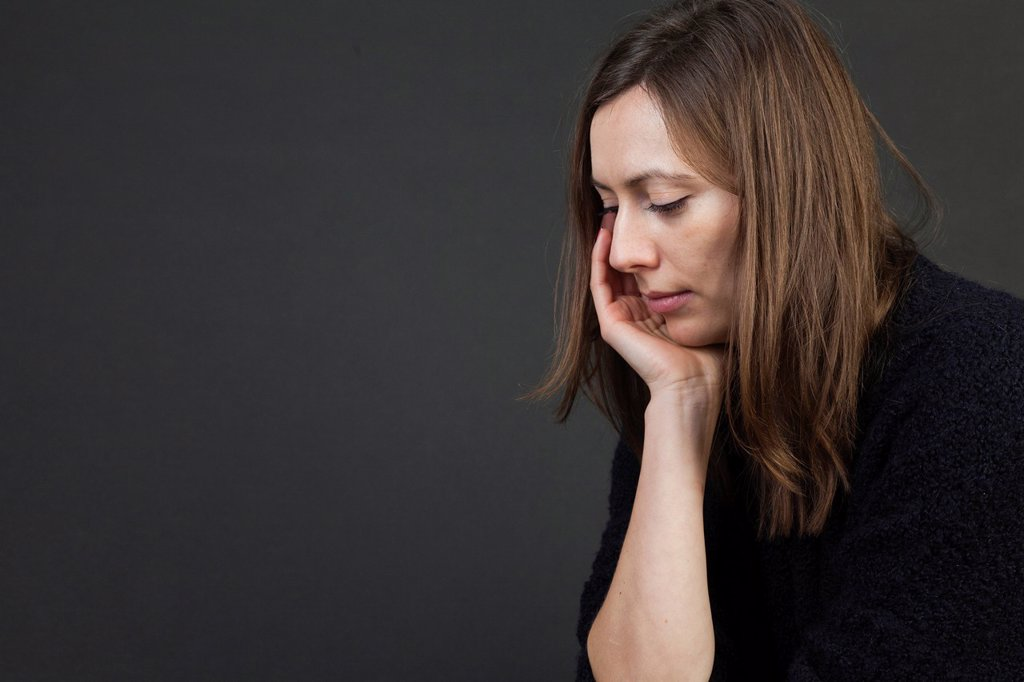 Woman, sad, depressions, worries : Stock Photo