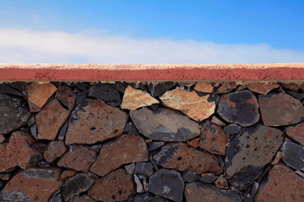 Stock Photo: 1848R-737776 Typical dry stone wall on the Canary Islands, La Palma, La Isla Verde, Canary Islands, Islas Canarias, Spain, Europe