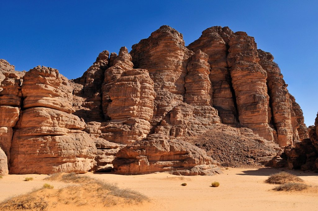 Sandstone rock formation at Tikobaouine, Tassili n´Ajjer National Park, Unesco World Heritage Site, Wilaya Illizi, Algeria, Sahara, North Africa : Stock Photo