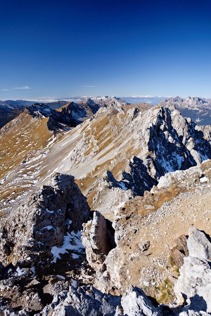 View from Cima Campagnacia Mountain, along the Bepi Zac climbing route in San Pellegrino Valley above San Pellegrino Pass, looking towards the Dolomites, Trentino, Italy, Europe : Stock Photo