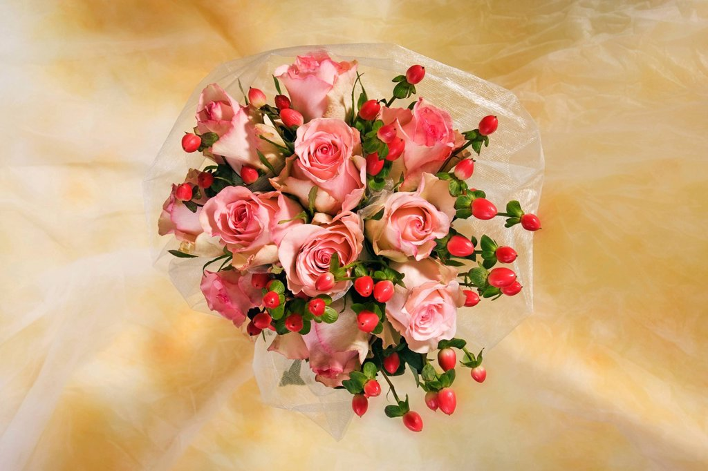 Bouquet with roses : Stock Photo