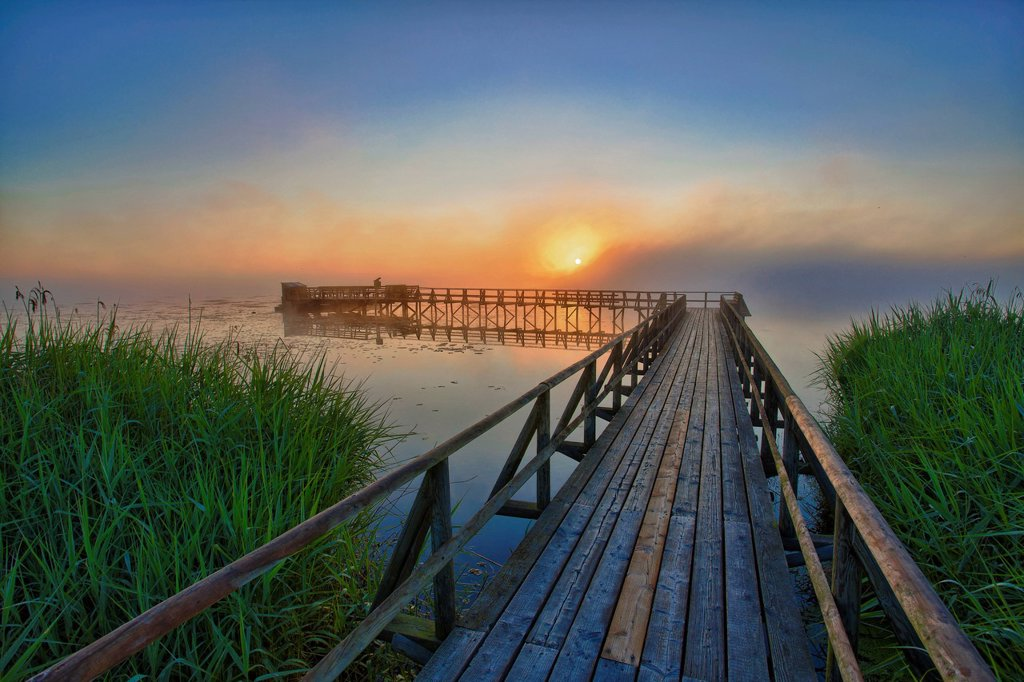 Stock Photo: 1848R-738681 Lake Federsee with a pier at sunrise, Lake Federsee district, Bad Buchau, Baden_Wuerttemberg, Germany, Europe